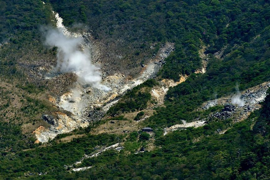 Steam rising from the rocky mountain slopes near the hot springs resort of Hakone, Kanagawa prefecture on May 6, 2015. -- PHOTO: AFP