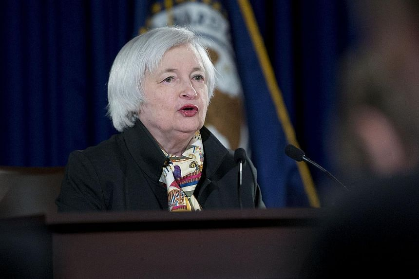 Janet Yellen, chair of the U.S. Federal Reserve, speaks during a news conference following a Federal Open Market Committee (FOMC) meeting in Washington, D.C., U.S., on March 18, 2015. -- PHOTO:BLOOMBERG