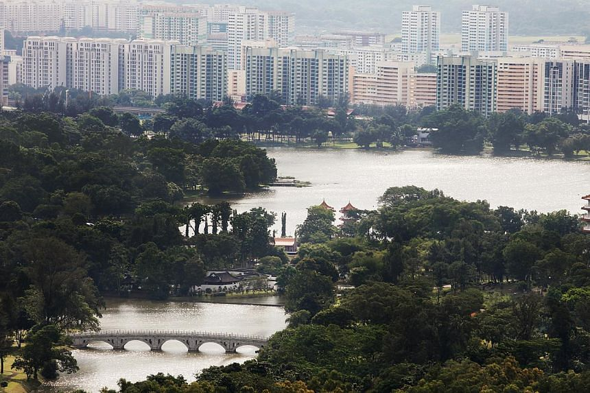 A view of Jurong Lake and its vicinity. The site of Singapore's high-speed rail terminus could be in the south-eastern region of the area, experts said. -- PHOTO: ST FILE