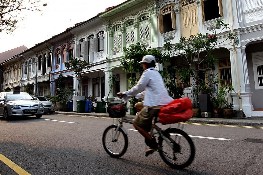 Shophouses along Joo Chiat Terrace. The first comprehensive survey of Singapore's tangible heritage will start in the middle of this year, covering buildings, structures, sites and landscape features of architectural, historical and cultural interest