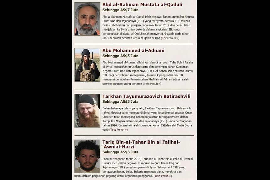 This combination of images provided Tuesday by the US Department of State's Rewards for Justice Program shows key leaders of ISIS. -- PHOTO: AFP