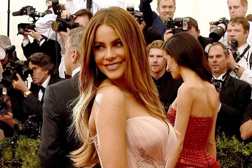 """Sofia Vergara attends the """"China: Through The Looking Glass"""" Costume Institute Benefit Gala at the Metropolitan Museum of Art on Monday in New York City. -- PHOTO: AFP"""