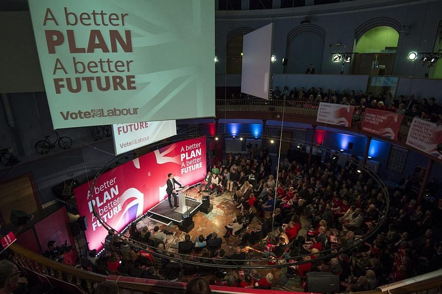 British leader of the Labour Party, Ed Miliband delivering a speech to supporters at the Leeds City Museum, in Leeds, Britain, on May 6, 2015. -- PHOTO: EPA
