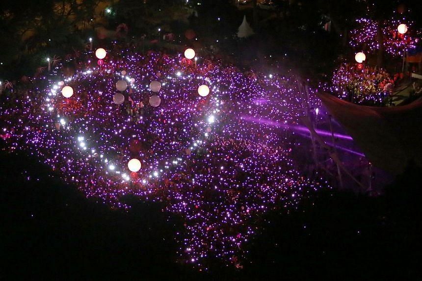 During last year's Pink Dot, all the participants came together to form a shimmering, giant pink dot with torches, mobile phones and light sticks, that included an outline of a heart in the centre. Pink Dot 2015 will take place on June 15 at Hong Lim