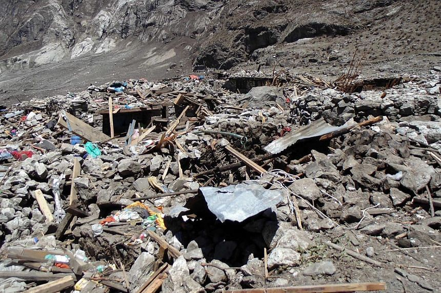 A handout picture provided by the Nepalese Police on May 6, 2015 shows the devastation after an earthquake hit the country on, in Langtang village, Langtang valley, Nepal, on May 2, 2015. -- PHOTO: EPA
