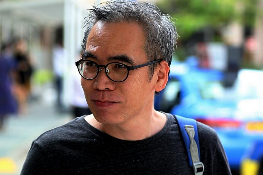 Amos Yee's former bailor, family and youth counseller Vincent Law arriving at the State Court for Amos Yee's trial on May 7, 2015. -- ST PHOTO: WONG KWAI CHOW