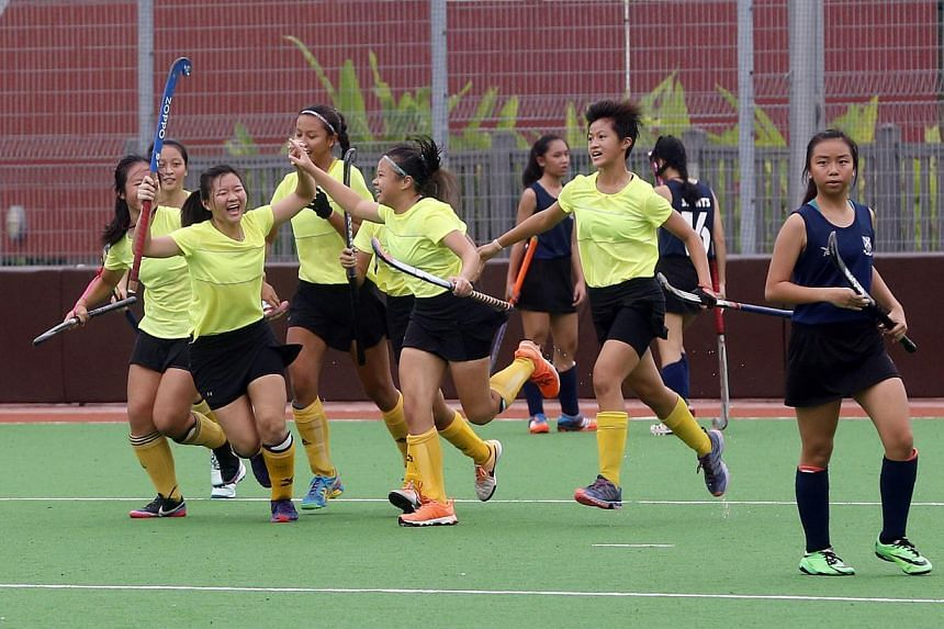 THE Victoria Junior College (VJC) girls' hockey team bagged their 13th consecutive Schools National A Division title on Thursday afternoon, defeating St Andrew's Junior College (SAJC) 3-0. -- ST PHOTO:CHEW SENG KIM