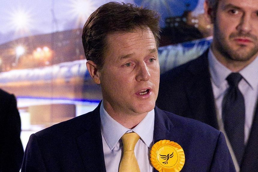 Liberal Democrat leader Nick Clegg speaking after retaining his seat in Sheffield, northern England, on May 8, 2015. -- PHOTO: AFP