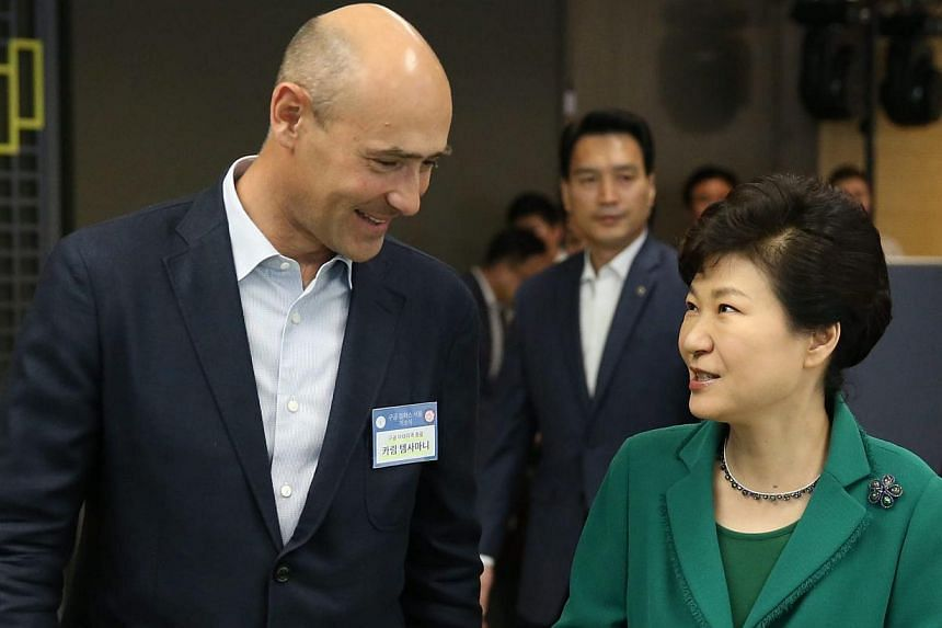 South Korean President Park Geun Hye (right) chatting with Mr Karim Temsamani, head of Google's Asia-Pacific region operations, during the opening ceremony of the campus for start-ups and entrepreneurs in Seoul, South Korea, on May 8, 2015. -- PHOTO: