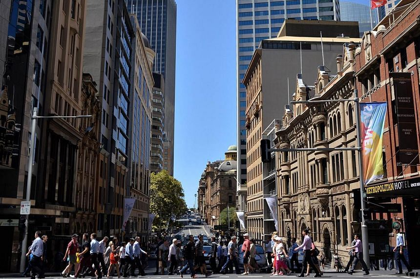 Pedestrians in Sydney's Central Business District on March 3, 2015. -- PHOTO: AFP