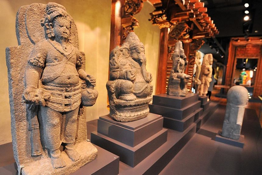 South and South-east Indian sculptures at the Indian Heritage Centre. -- ST PHOTO: LIM YAOHUI