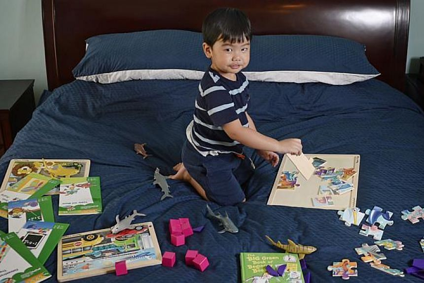 Elijah Catalig, at an age of two years and six months, is currently the youngest member in Mensa Singapore. He is pictured at home with some of his puzzles, games and activity books on May 7, 2015. -- ST PHOTO: MARK CHEONG