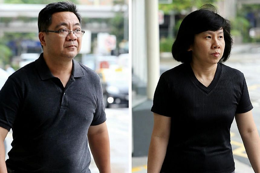 Amos Yees parents,Mr Alphonsus Yee (right) and Madam Mary Toh, arriving in court on Friday, May 8, 2015. -- PHOTOS: WONG KAI CHOW