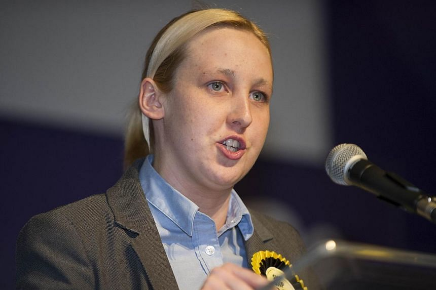 Newly elected Scottish National Party (SNP) member of Parliament Mhairi Black, Britain's youngest member of Parliament since 1667, speaks after the declaration of the general election results for the constituency of Paisley and Renfrewshire South at