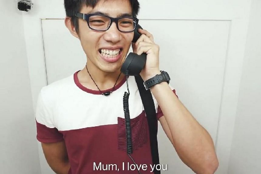 The video, an initiative by Jurong Point Shopping Centre to celebrate Mother's Day which falls on May 10 this year, showed people talking to their mothers over the phone in a booth set up in the mall. -- PHOTO: SCREENGRAB FROM VIDEO/ JURONG POINT SHO
