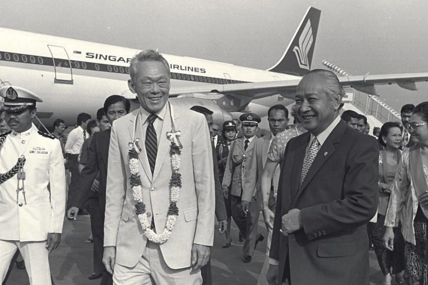 Indonesia's President Suharto welcoming Singapore's Prime Minister Lee Kuan Yew at the Jakarta airport in 1982. Despite being a strongman domestically, Mr Suharto took a laidback approach towards Asean and allowed its smaller members to exercise lead