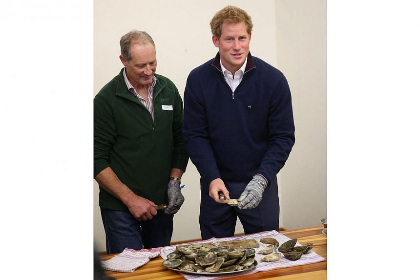 Britain's Prince Harry (right) shucks an oyster with the help of islander Jim Barrett of Big Glory Oysters during a visit to the Stewart Island Community Centre in Oban, Stewart Island, as part of his first visit to New Zealand on May 10, 2015. -- PH