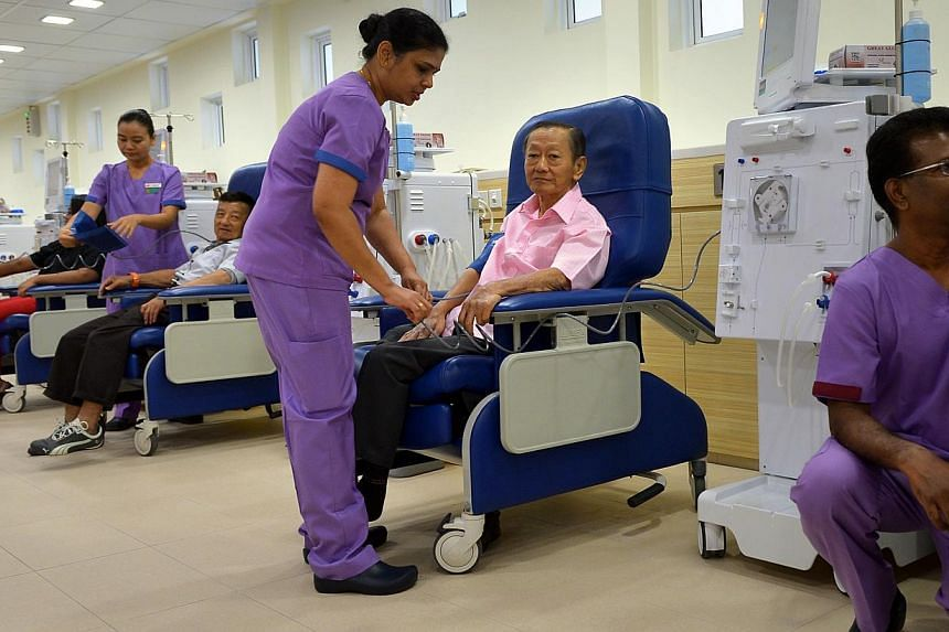 Patients at the newly-opened NKF dialysis centre at Yishun on Feb 2, 2015. -- PHOTO: ST FILE