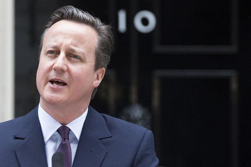 David Cameron, U.K. prime minister and leader of the Conservative Party, delivers his victory speech outside 10 Downing Street following the 2015 general election, in London, U.K., on Friday, May 8, 2015. -- PHOTO: BLOOMBERG