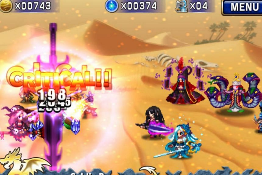 A screenshot of Brave Frontier. Last June, the locally-made game joined the top 10 grossing games at the Apple and Google Play stores. It also topped the Readers' Choice poll in The Straits Times Digital Life Awards last year. --PHOTO: GUMI ASI