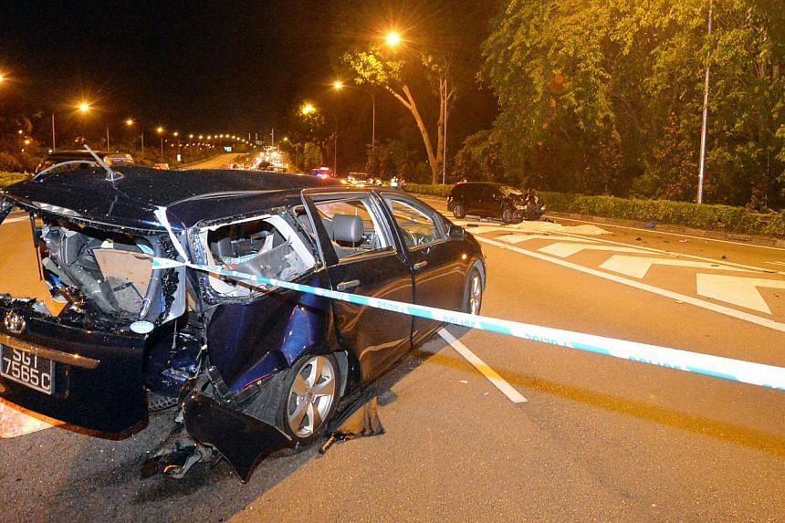 Mr Amron's wrecked Toyota Wish after Toh's multi-purpose vehicle ploughed into it. -- PHOTO: SHIN MIN