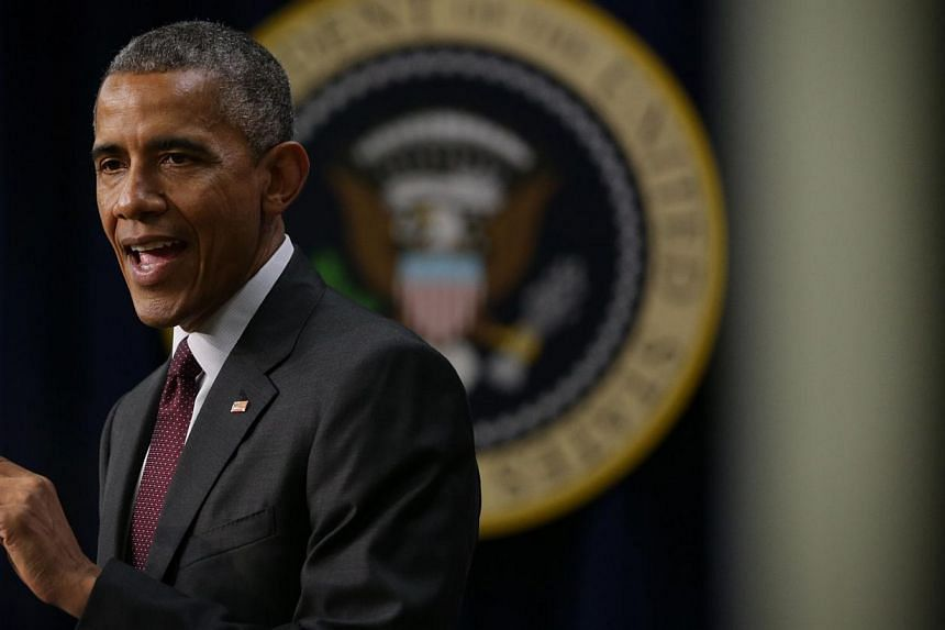 U.S. President Barack Obama speaks during an event to recognize emerging global entrepreneurs on May 11, 2015 at the South Court Auditorium of Eisenhower Executive Office Building in Washington, DC. -- PHOTO: AFP