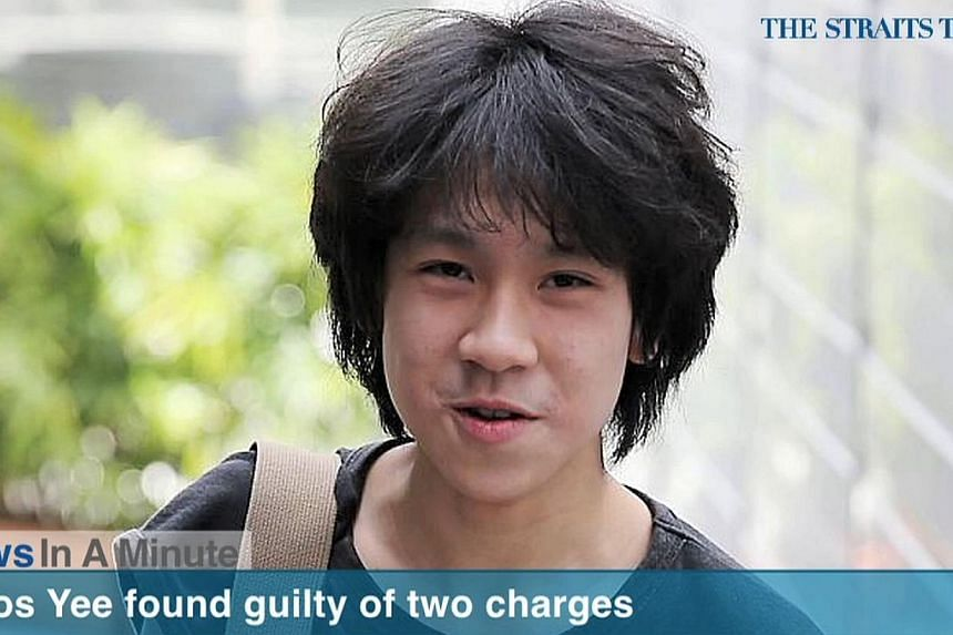 Teenage blogger Amos Yee was found guilty of two charges, making offensive remarks against Christianity and uploading an obscene image.-- SCREENSHOT: RAZER.TV