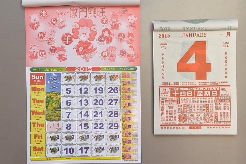 Traditional calendars for the year 2015. The Government has announced the public holidays in 2016 which includes 6 long weekends. -- PHOTO: THE NEW PAPER