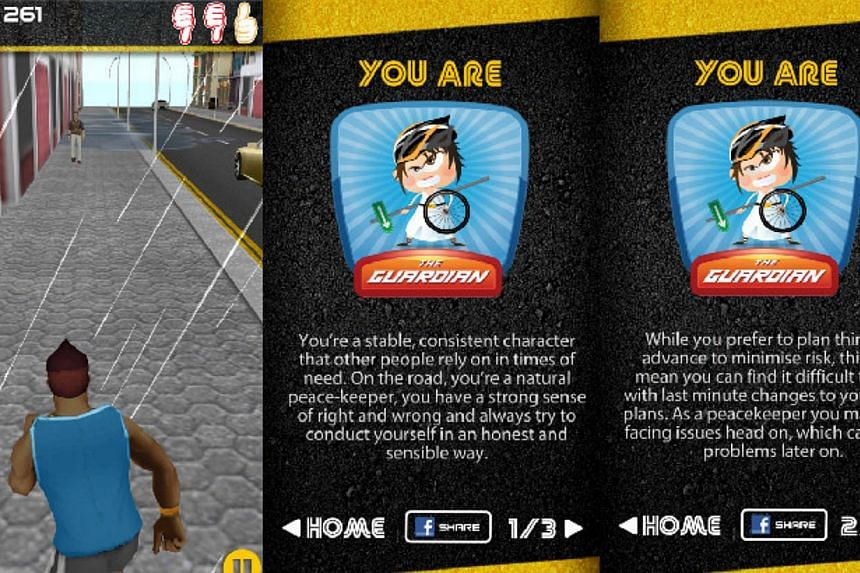"In conjunction with the launch of this year's Road Safety Month on Saturday, the traffic police launched the ""RoadPro"" mobile application, which allows users to understand what type of road user they are. -- SCREENGRAB: ROADPRO/ SINGAPORE POLICE FORC"