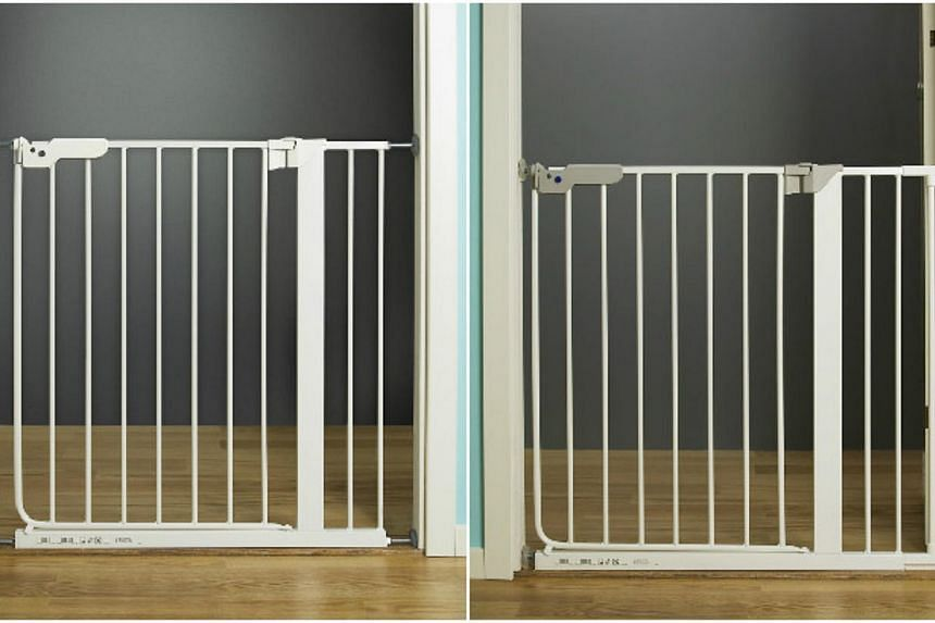 The Patrull Klamma (left) and Patrull Smidig pressure-mounted safety gates are safe for use in doorways between rooms or at the bottom of staircases, but there is a risk of falling and injury if the gate is mounted at the top of a staircase. -- PHOTO