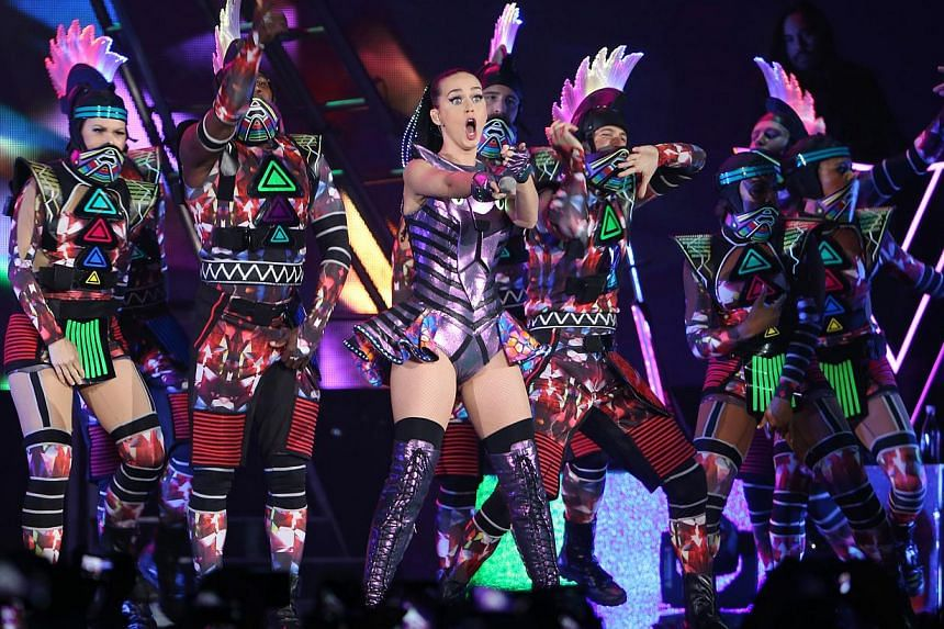 Pop princess Katy Perry performs during her Prismatic World Tour, held at the Singapore Indoor Stadium on May 11, 2015. -- ST PHOTO: SEAH KWANG PENG
