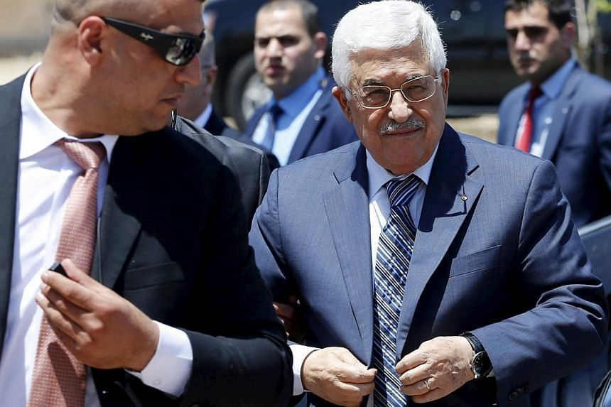 Palestinian President Mahmoud Abbas attends Friday prayers in the West Bank city of Jericho on May 1. -- PHOTO: REUTERS