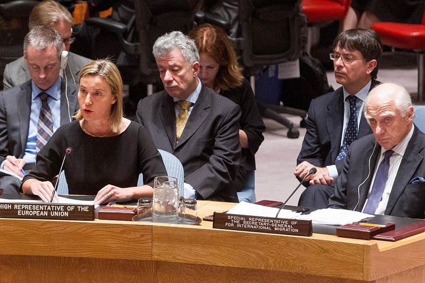 Federica Mogherini (front left), European Union High Representative for Foreign Affairs and Security Policy, addresses the UN Security Council meeting on cooperation between the United Nations and regional and subregional organisations in maintaining
