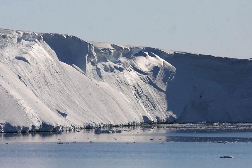 The Totten Glacier, the most rapidly thinning glacier in East Antarctica, in a photo handed out in March. The 120-kilometre long glacier is the largest in East Antarctica and melting more quickly than others in the area. -- PHOTO: AFP