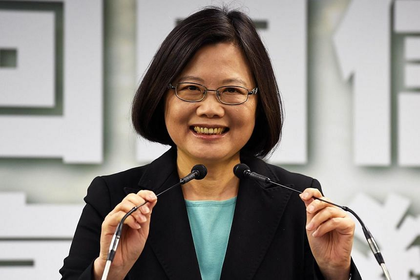 This picture taken on April 15, 2015 shows Tsai Ing-wen, chairwoman of Taiwan's main opposition Democratic Progressive Party (DPP), speaking during a press conference in Taipei. -- PHOTO: AFP