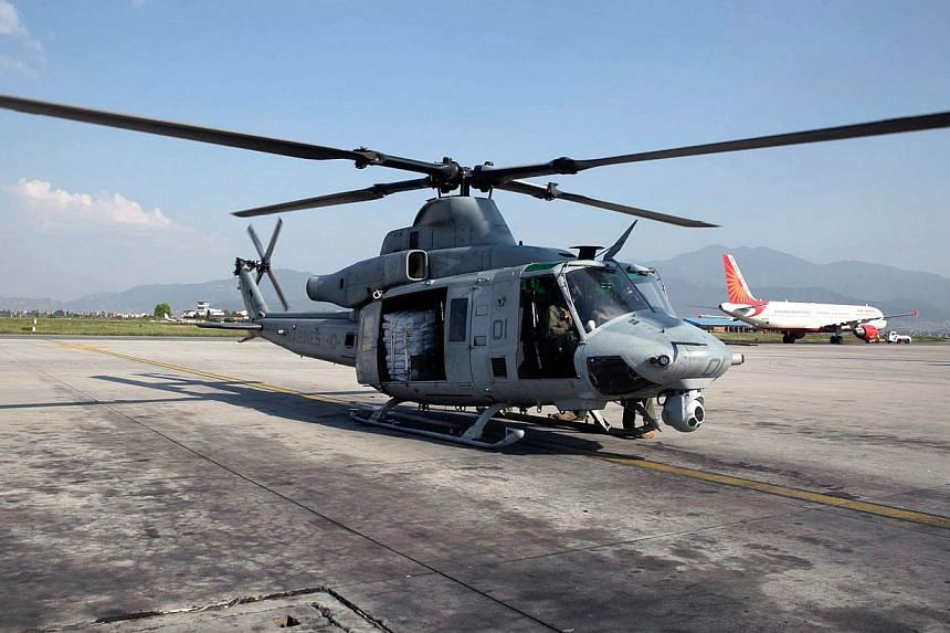 The Nepali army has been told a missing United States Marines helicopter with eight on board may have come down in a river in the Charikot area. -- PHOTO: AFP
