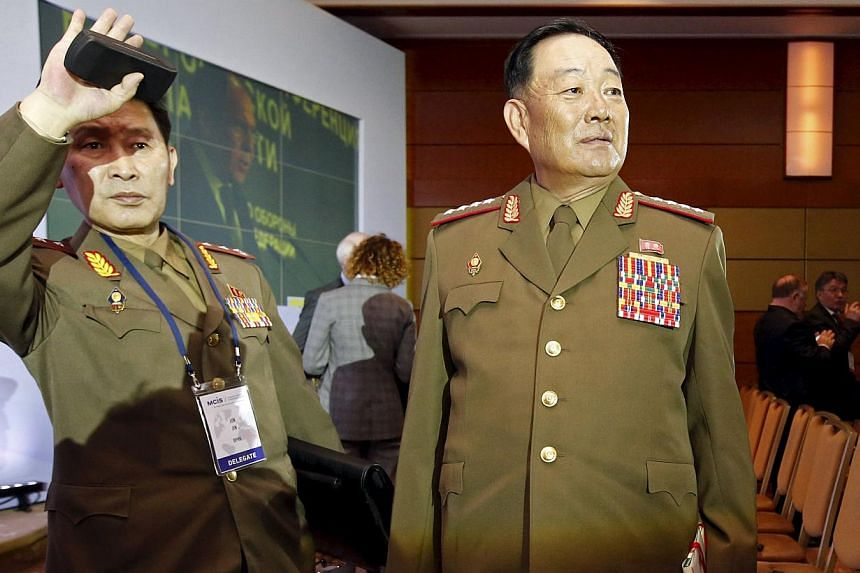 Senior North Korean military officer Hyon Yong Chol (right) at the 4th Moscow Conference on International Security (MCIS) in Moscow on April 16, 2015. Hyon has been executed by anti-aircraft fire for disloyalty and showing disrespect to leader Kim Jo
