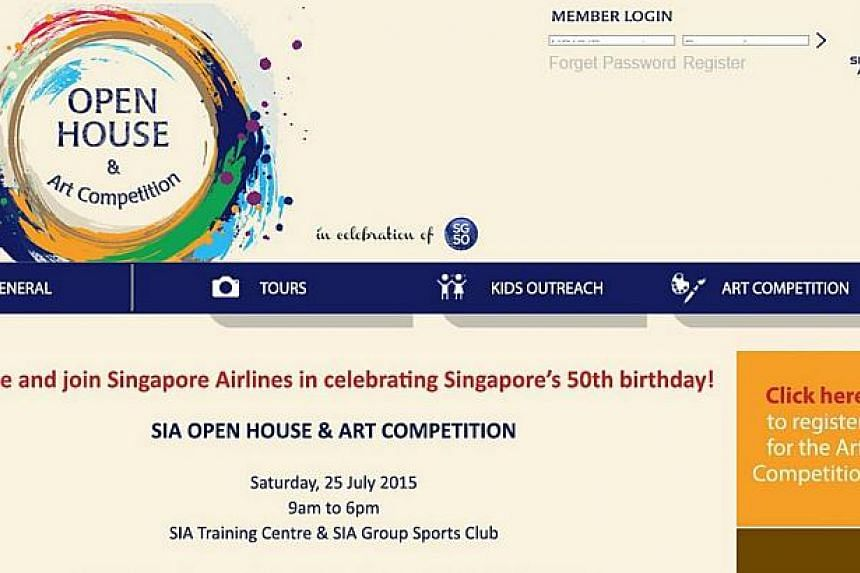 Singapore Airlines is organising an art competition, in conjunction with a planned open house, to celebrate the nation's 50th birthday. Secondary and tertiary students who wish to take part can submit digital copies of their artwork via www.SIAopenho
