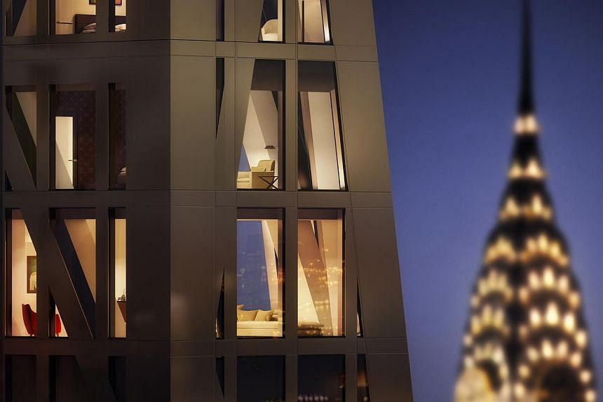 Artist's impressions of the 82-storey 53W53 (top, with Chrysler Building in the background and on right), which will rise to a height of 320m, tapering like a shard of glass. Prices of the 139 luxury apartments start from US$3 million ($4 million) fo