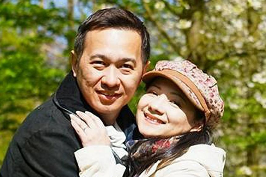 Vincent Chee with his wife, former Hong Kong actress Wong Siu-Foon. Mr Chee, a Singaporean flight attendant, suffered a stroke on a Cathay Pacific Airways flight bound for Frankfurt from Hong Kong on May 7, 2015. -- PHOTO: FACEBOOK