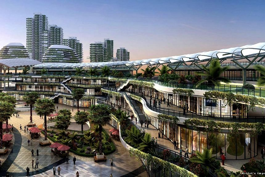 An artist impression of the Forest City in Johor, a project by Country Garden Pacificview (CGPV), which is located close to Singapore's Tuas Second Link. -- PHOTO: COUNTRY GARDEN PACIFICVIEW