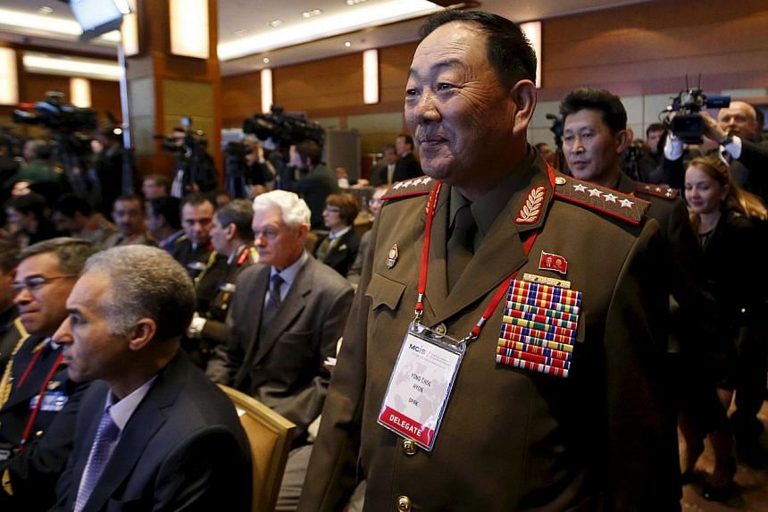 Senior North Korean military officer Hyon Yong Chol (right, front) attending the 4th Moscow Conference on International Security (MCIS) in Moscow on April 13, 2015. -- PHOTO: REUTERS