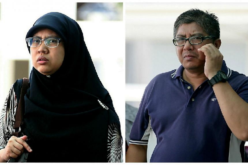 A couple who abused their Indonesian domestic worker were sentenced to jail on Thursday. Khairani Abdul Rahman (left), 42, was jailed a total of four weeks on three charges. Her husband, Rosman Anwar, 47, will start his two-week jail term on July 1.