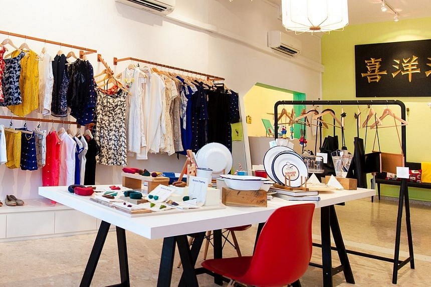 Among the businesses affected by URA's recent actions are a handful of startups and design agencies, homeware shop and studio Bloesem, apparel retailer Nana and Bird (above), and decade-old nail parlour and spa Hui Aesthetics. -- ST PHOTO: ARUN RAMU&