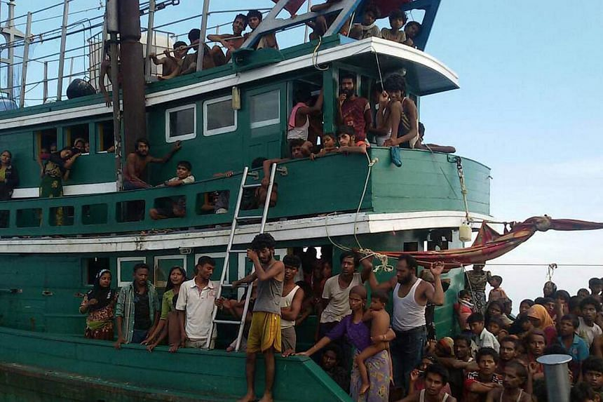 Rohingya passengers on a boat that was found drifting off the coast of Thailand in the Andaman Sea on May 14, 2015. -- PHOTO: AFP