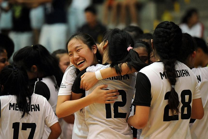 Meridian bagged their sixth title since 2007 when they beat River Valley High School 6-1 in a match they dominated from start to end. -- PHOTO: ST FILE