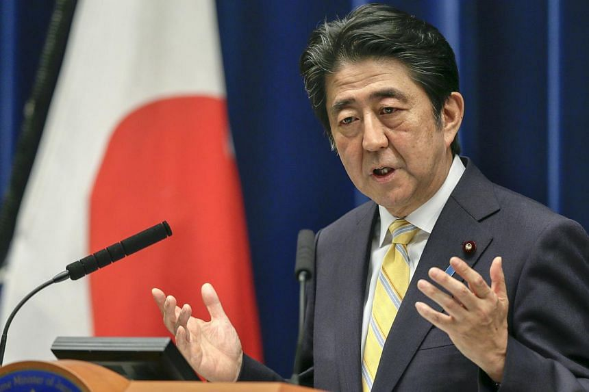 Japanese Prime Minister Shinzo Abe speaking during a news conference at his official residence in Tokyo, Japan, on May 14, 2015. -- PHOTO: EPA
