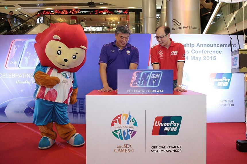 Singapore South East Asian Games Organising Committee (Singsoc) executive committee chairman Lim Teck Yin (left) together with UnionPay International Southeast Asia general manager Wenhui Yang at an event to announce UnionPay International's sponsors