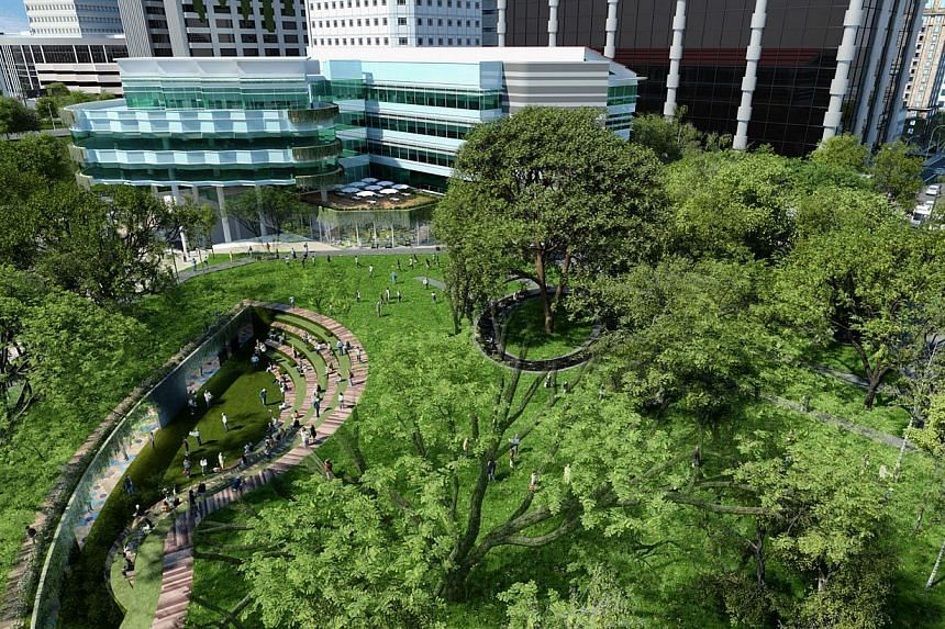 An artists' impression of theCampus Green. -- PHOTO: SMU