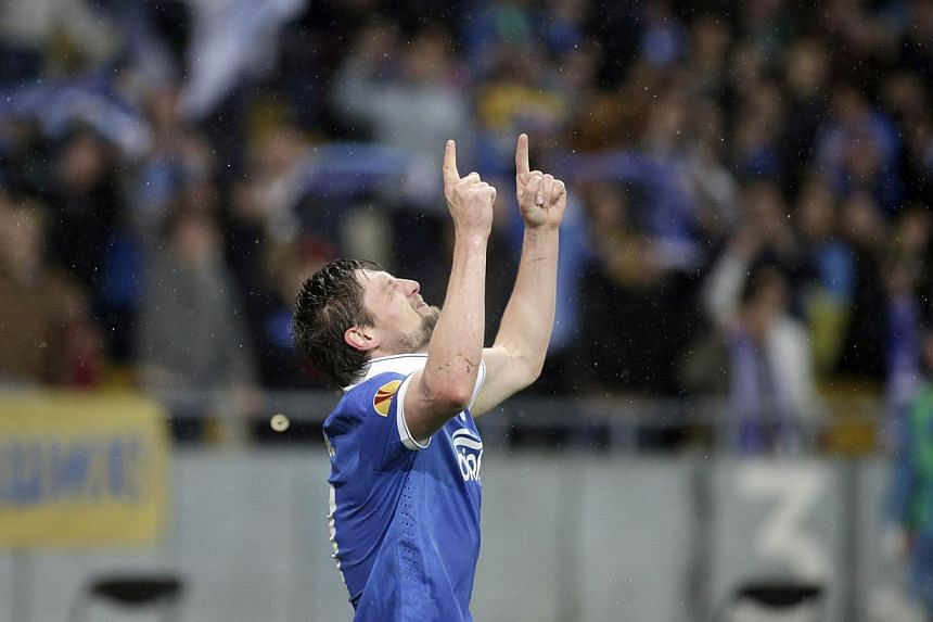 Dnipro's Yevhen Seleznyov celebrating his goal against Napoli in Kiev on May 14, 2015. The Ukrainian team will face holders Sevilla in the Euro League final in Warsaw on May 27. -- PHOTO: AFP